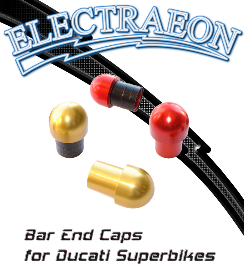 Electraeon Bar End Caps for Ducati 748, 916, 996, 998, 749, 999, 848, 1098, and 1198 Superbikes.