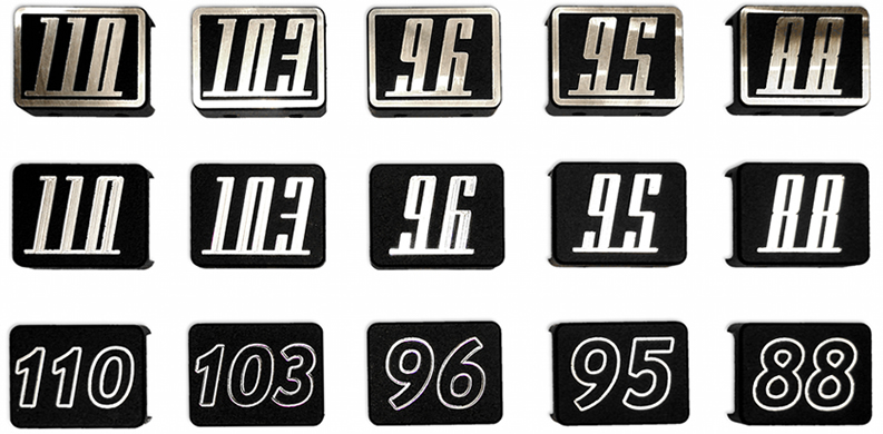 Electraeon Engine Badge styles for Harley Davidson motorcycles with Twin Cam Motors.