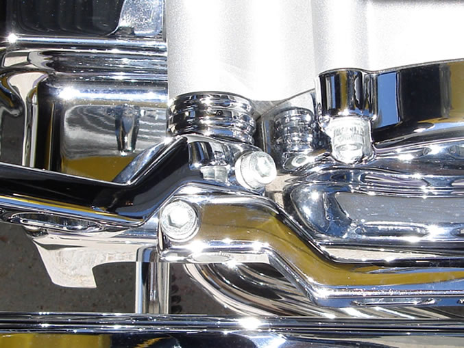 Closeup view of Electraeon Ball Mill Style Shifter Trim Ring installed on a Harley Davidson ElectraGlide.