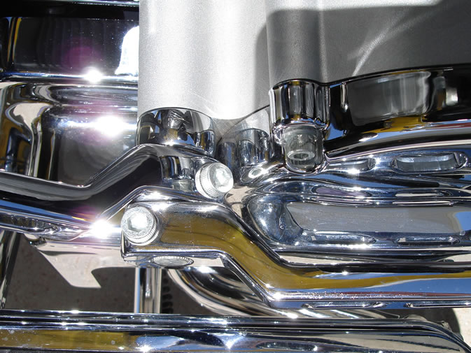 Closeup view of Electraeon Smooth Style Shifter Trim Ring installed on Harley Davidson ElectraGlide.