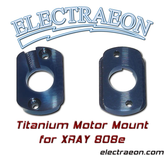 Titanium Motor Mount for XRay 808e, Blue anodized.